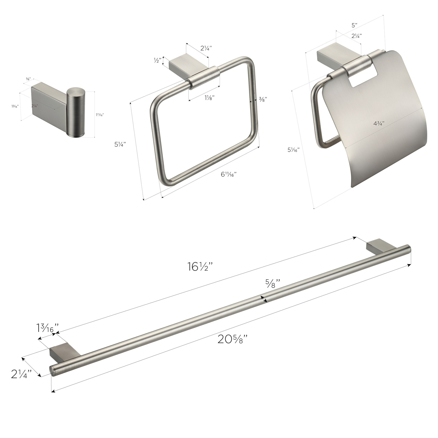 "Benidorm 4-Piece Bathroom Hardware Set with 24"" Towel Bar, Brushed Nickel"