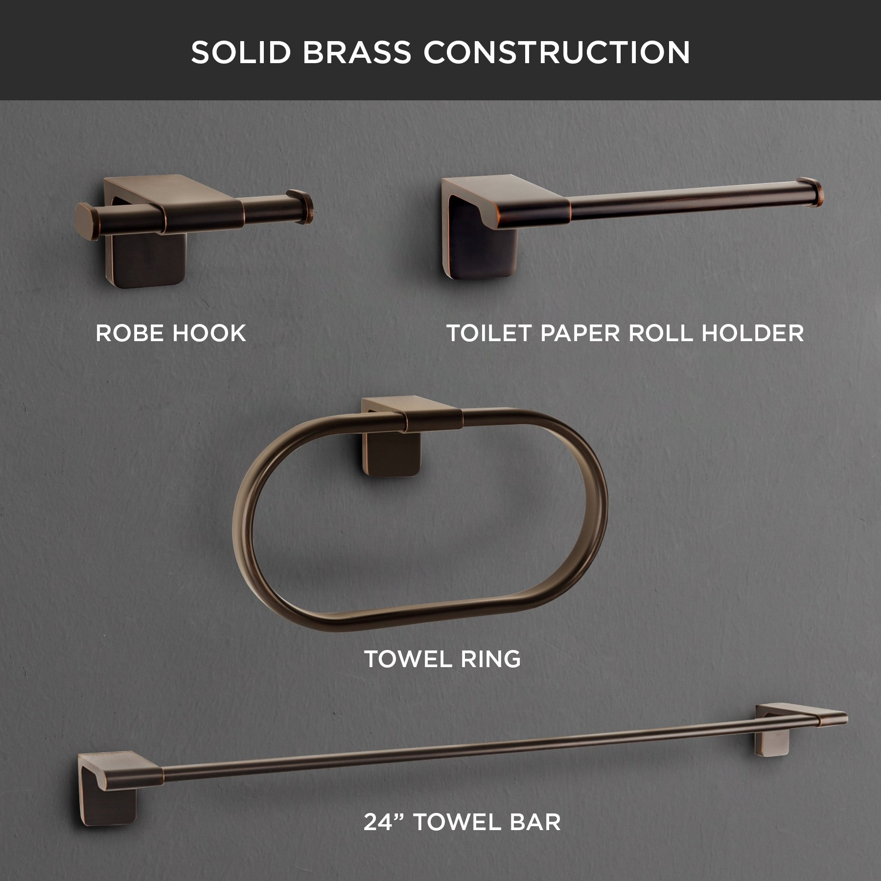 "Dash 3-Piece Bathroom Hardware Set with 23"" Towel Bar, Oil-Rubbed Bronze"
