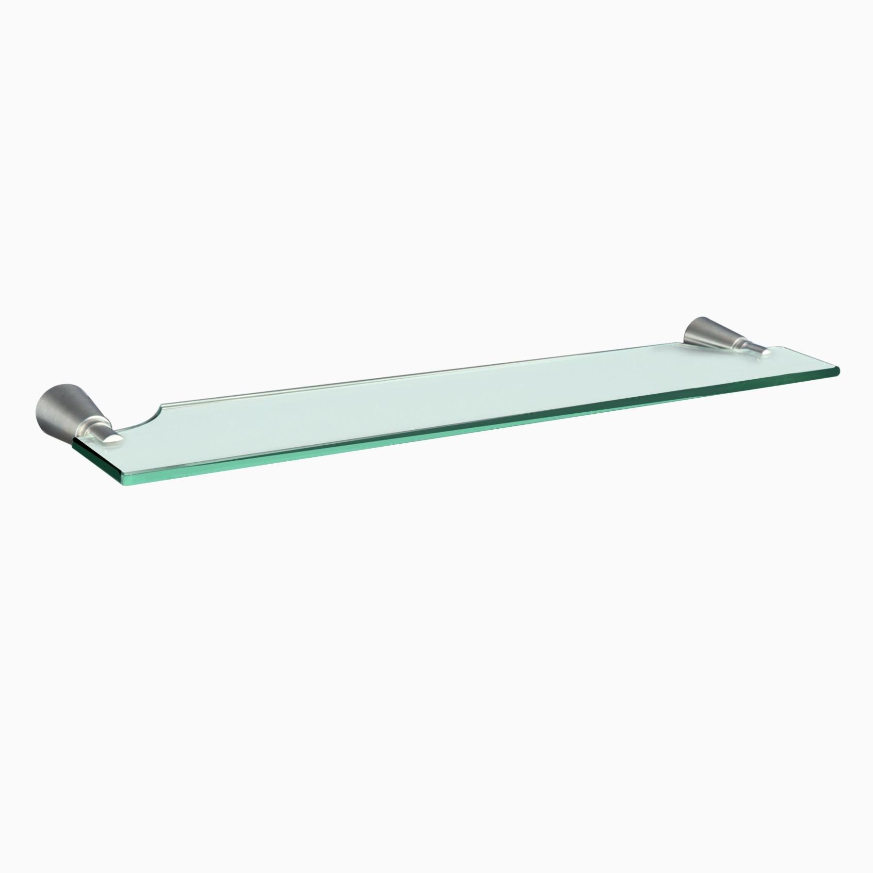 Soma Glass Shelf, Brushed Nickel - Wall Mounted Glass Bathroom Shelving