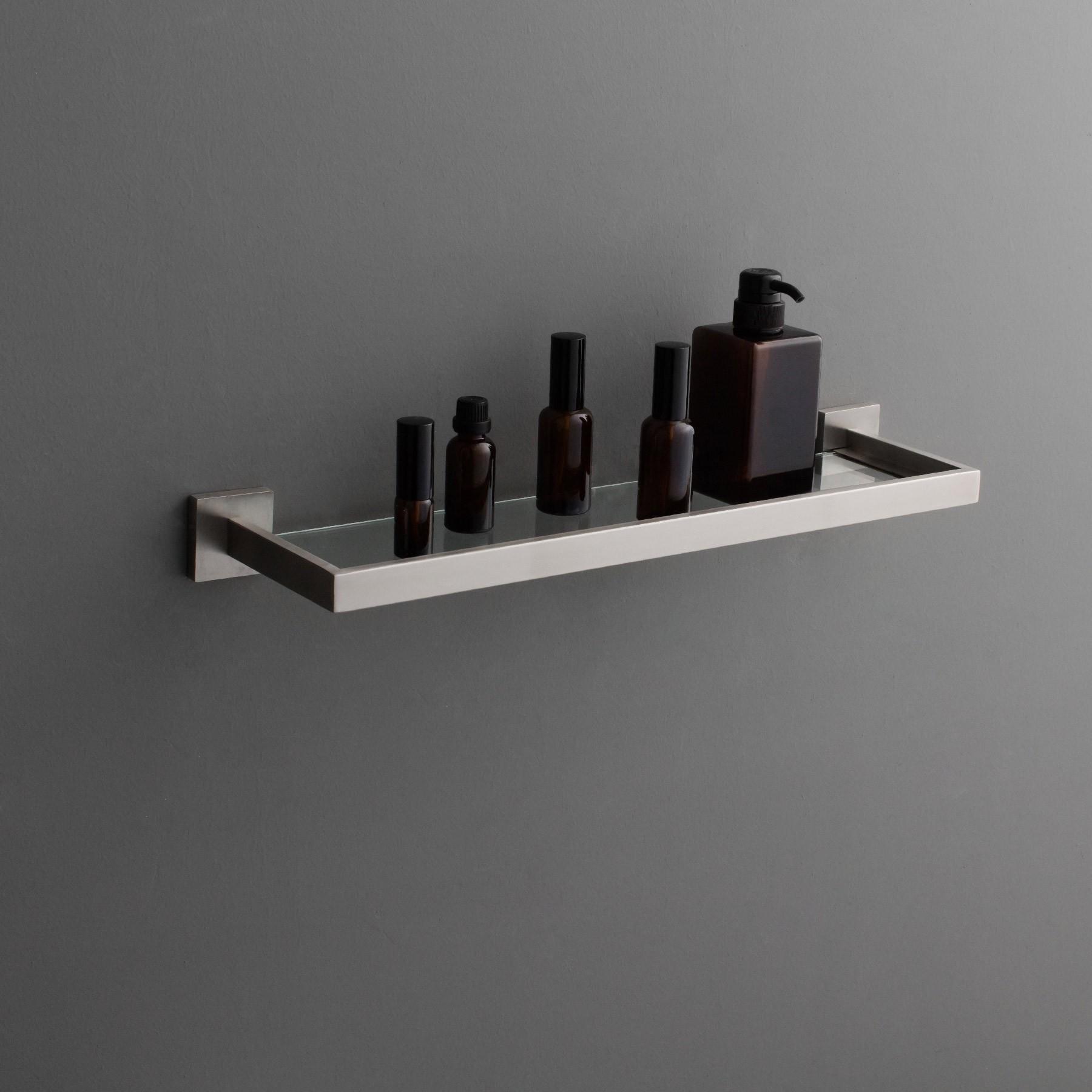 TriBeCa Bathroom Floating Glass Wall Shelf, Brushed Nickel