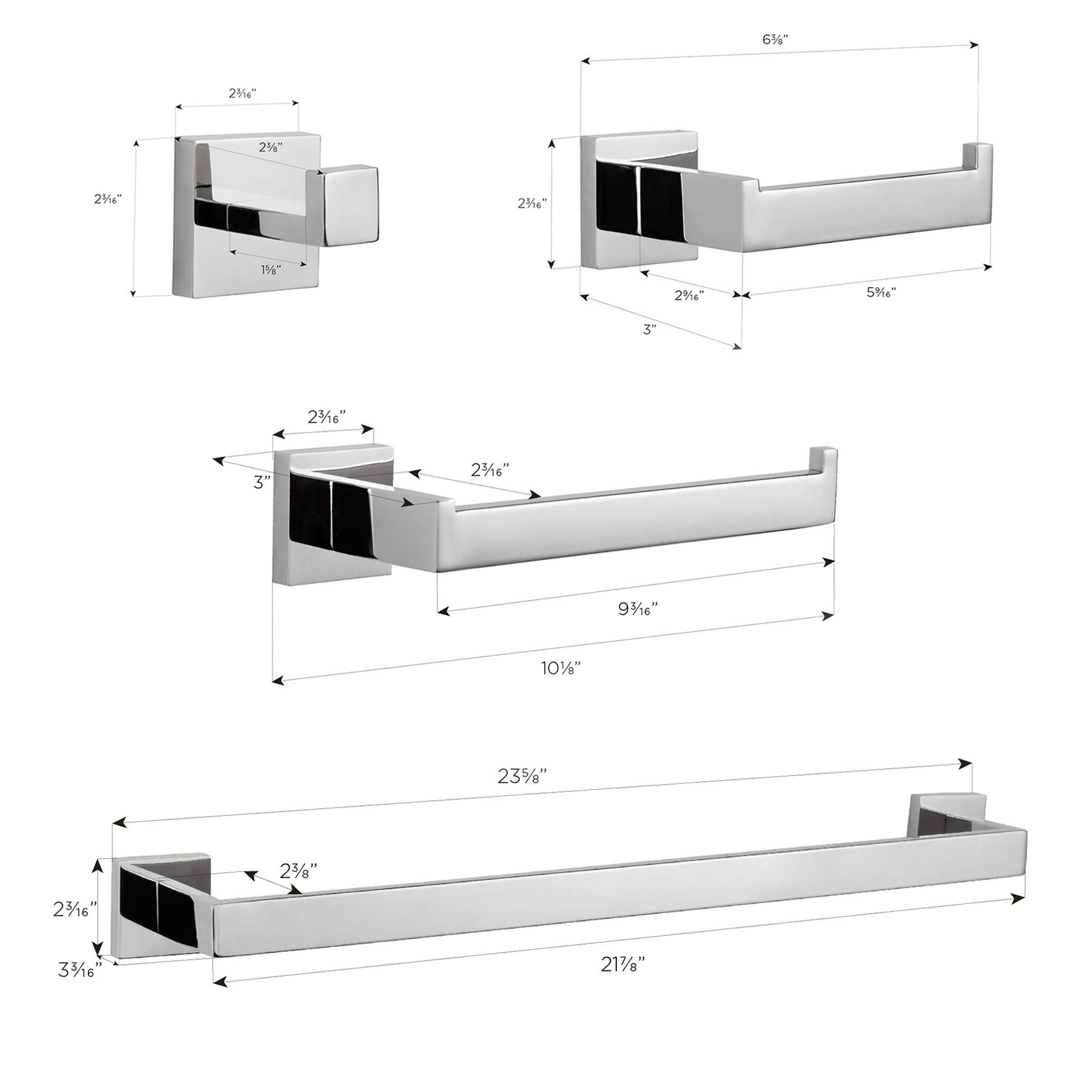 "TriBeCa 4-Piece Bathroom Hardware Set with 24"" Towel Bar, Polished Chrome"