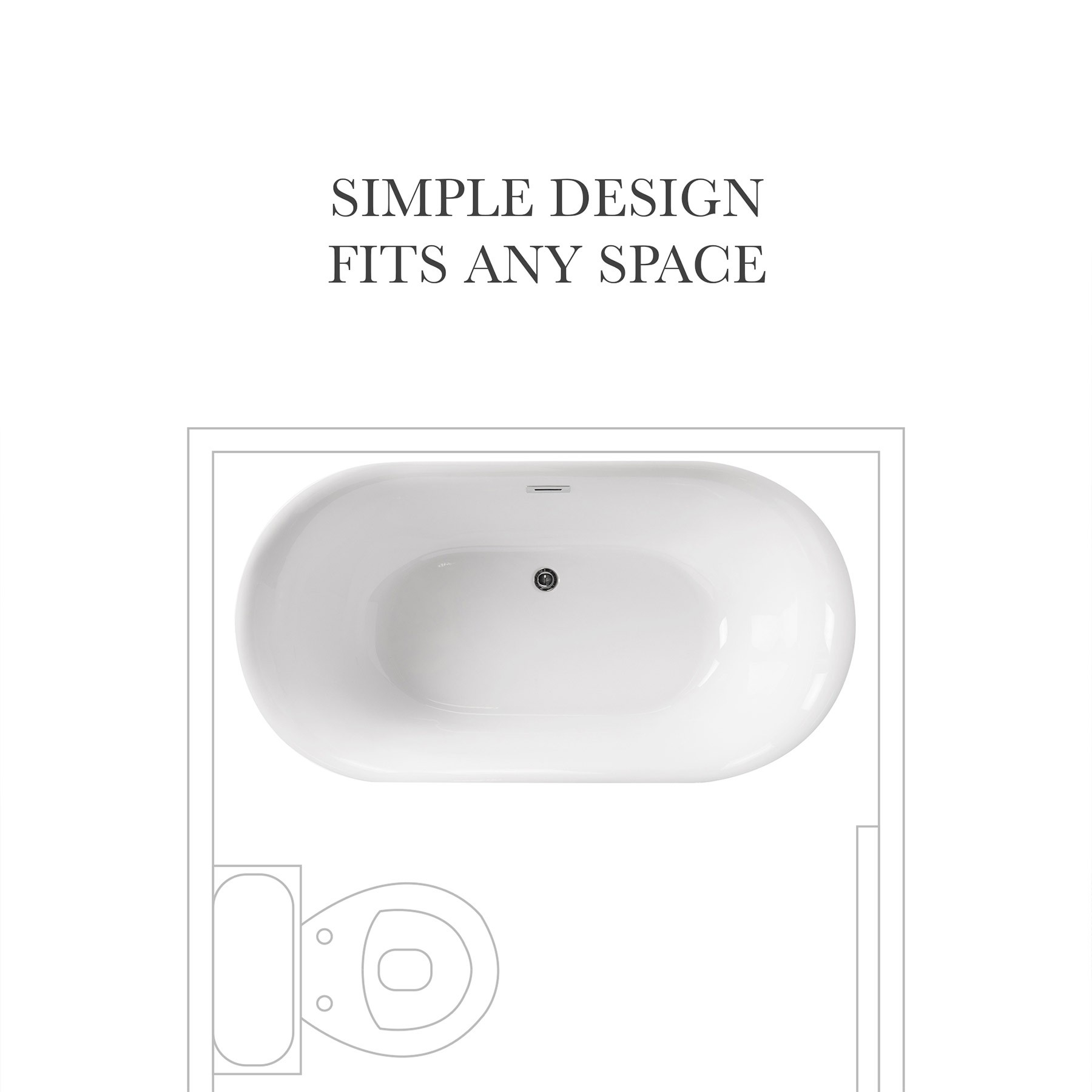 "59"" Dewey Acrylic Freestanding Bathtub, Modern Oval Tub"