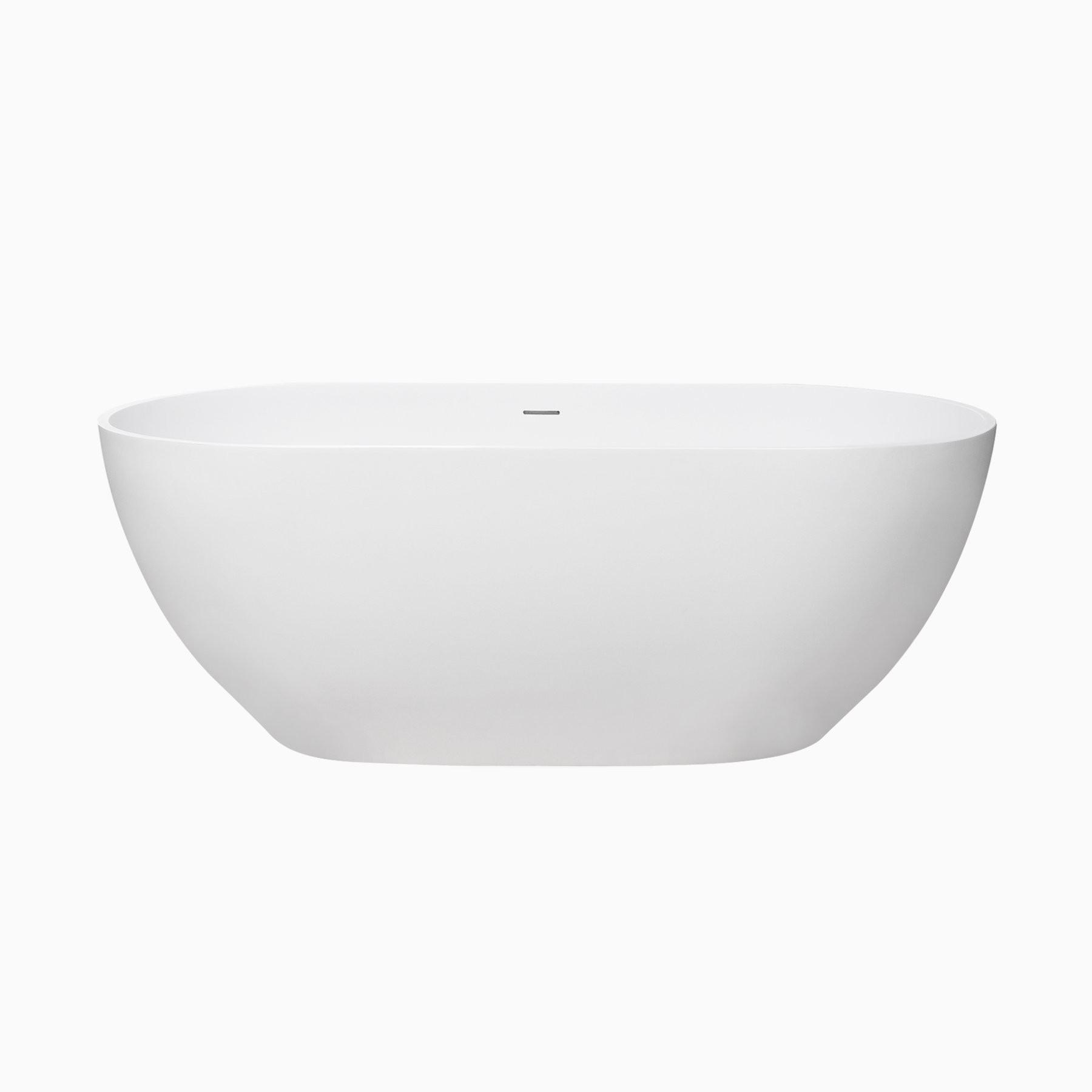 59 Faro Solid Surface Freestanding Bathtub Matte White