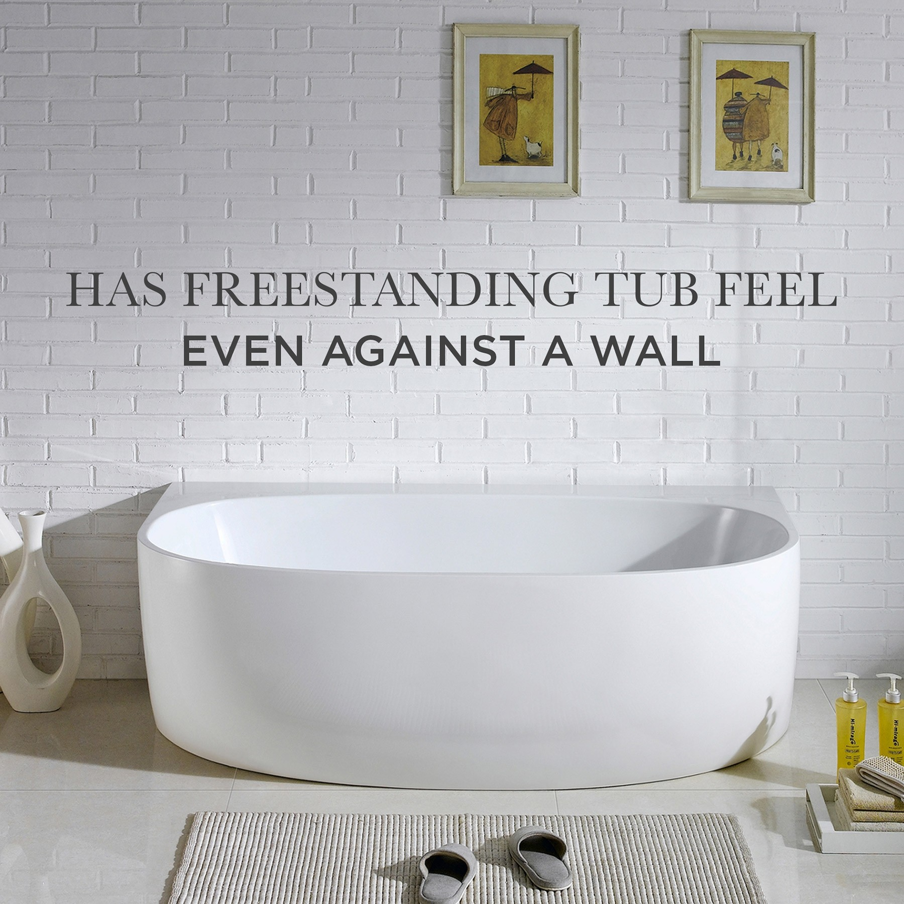 "68"" Ocala Acrylic Freestanding Bathtub, Modern Tub, White"