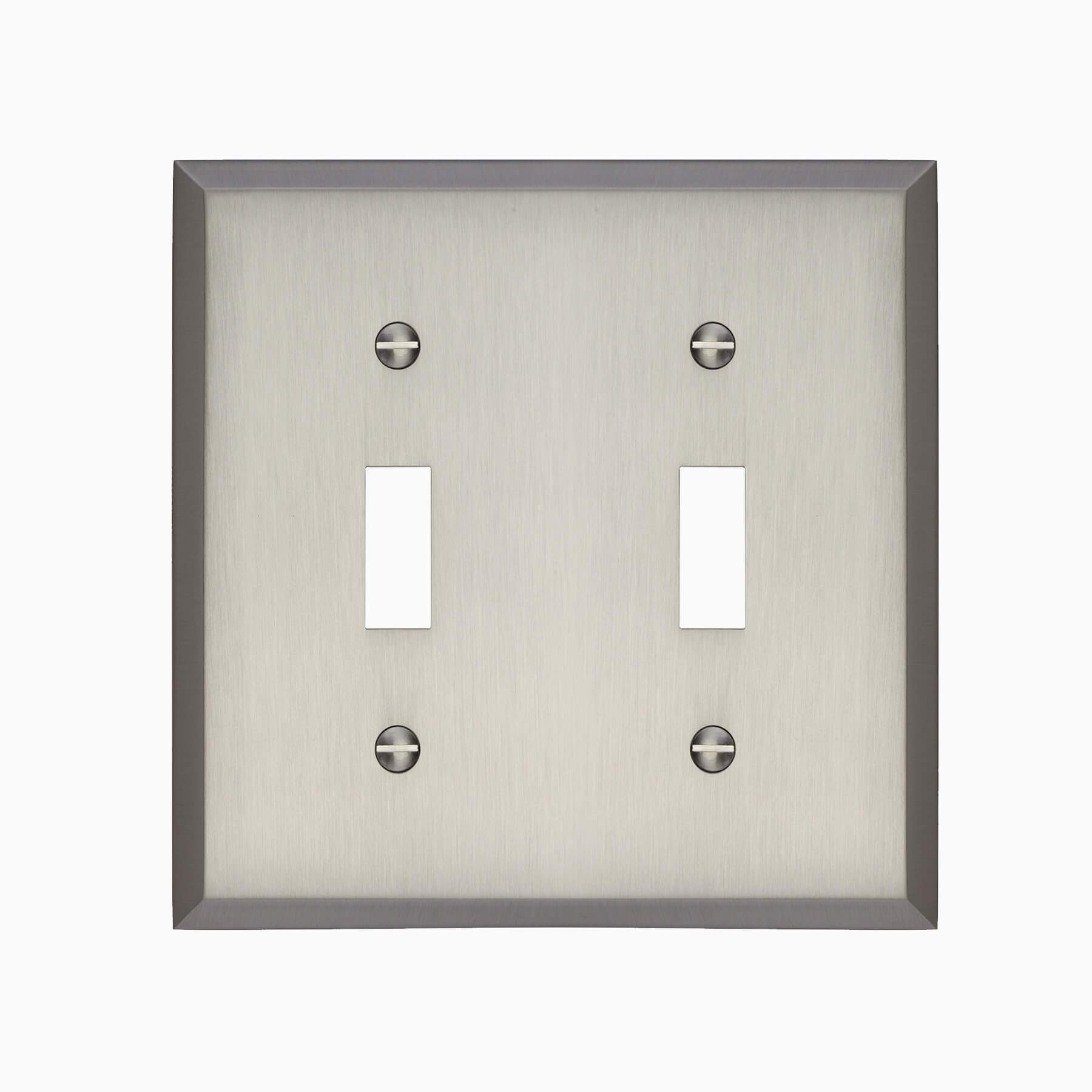 Graham Double Light Switch Cover Brushed Nickel Wall Mounted Electrical Switch Plate