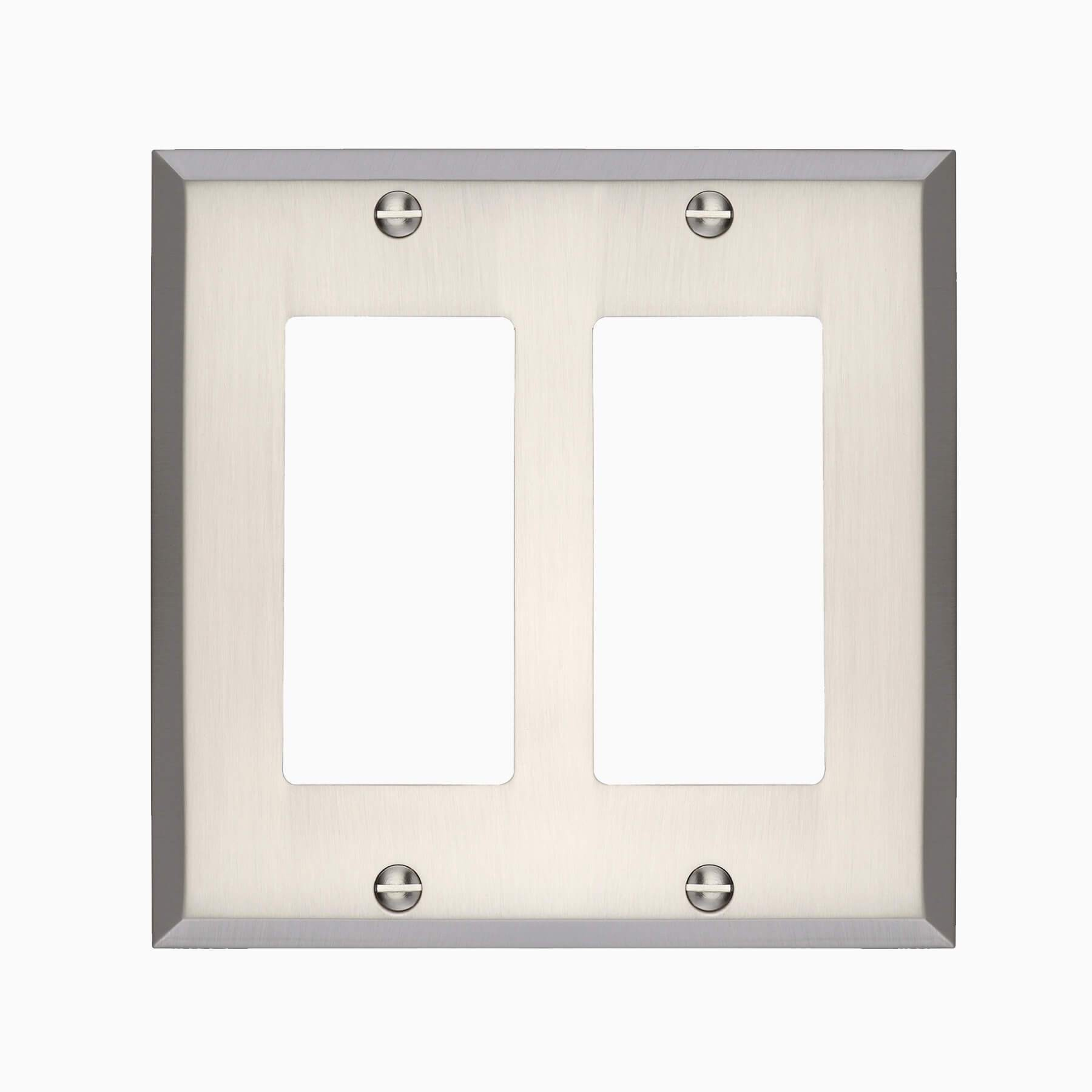 Picture of: Graham Double Rocker Switch Cover Brushed Nickel Wall Mounted Electrical Switch Plate