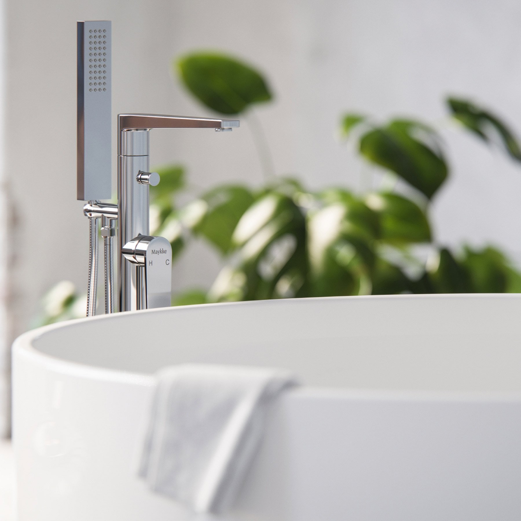 Adalbert Brass Freestanding Bathtub Faucet With Hand Shower, Modern