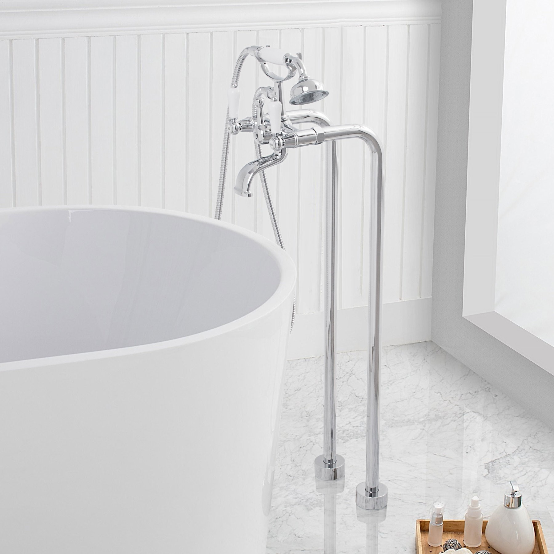 Inverness Freestanding Bathtub Faucet Set With Hand Shower, Polished Chrome