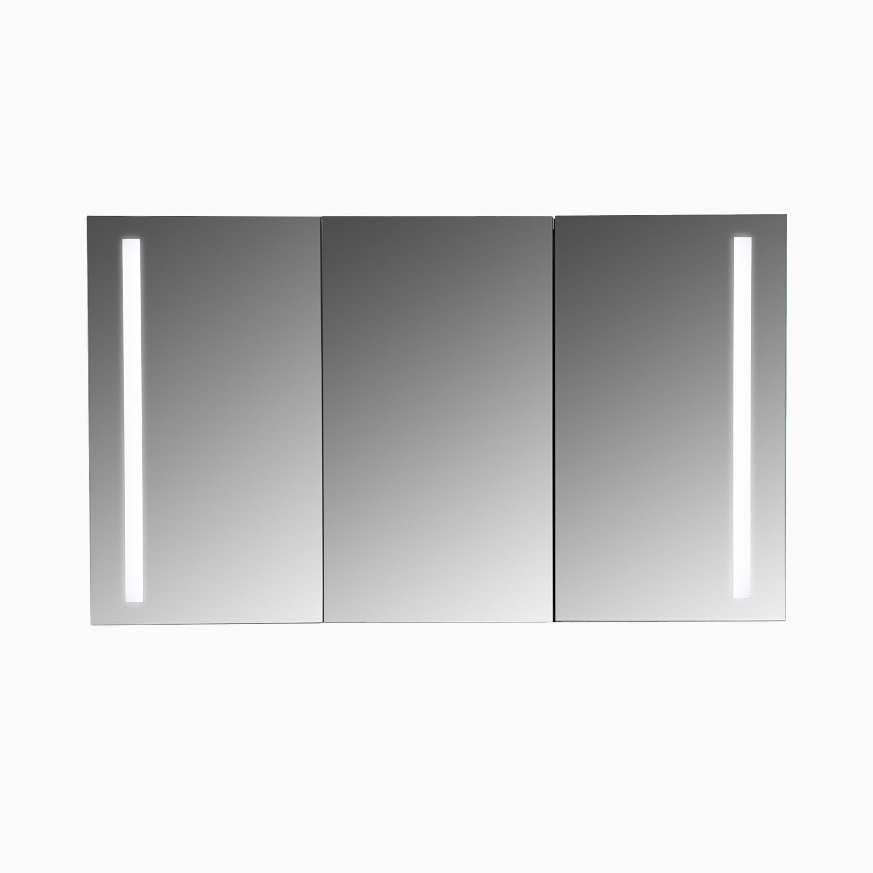 Emery 48 Inch W X 28 Inch H Rectangular Led Mirrored Medicine Cabinet With 3 Doors Modern Frameless Wall Led Mirror