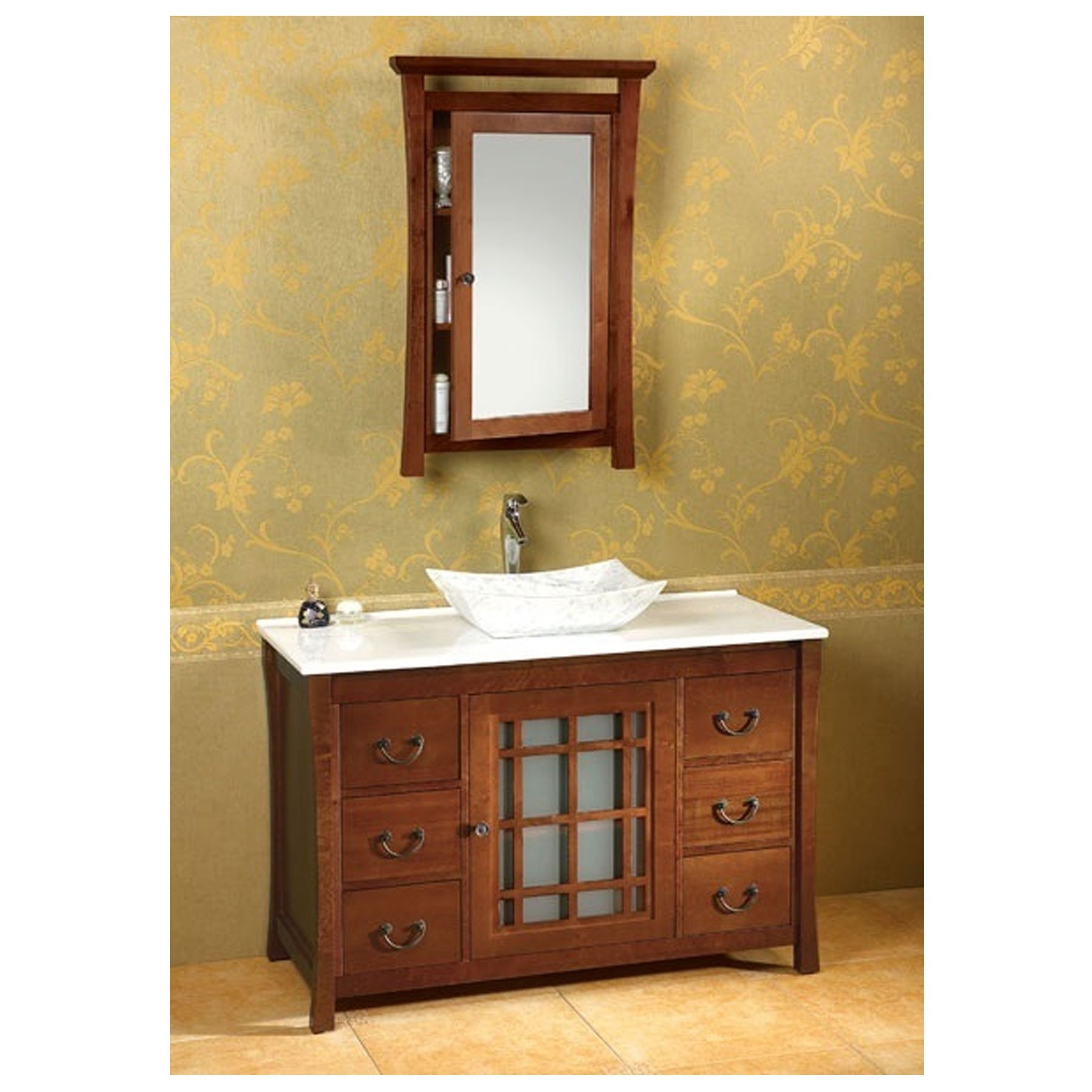 Sachi 25 W X 39 H Wood Framed Medicine Cabinet With Mirror And Shelf Natural Cherry