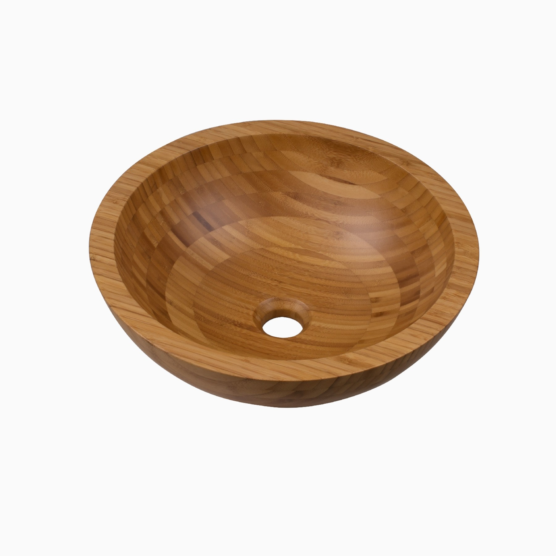 Aria Solid Bamboo Bathroom Vessel Sink, Round, Transitional