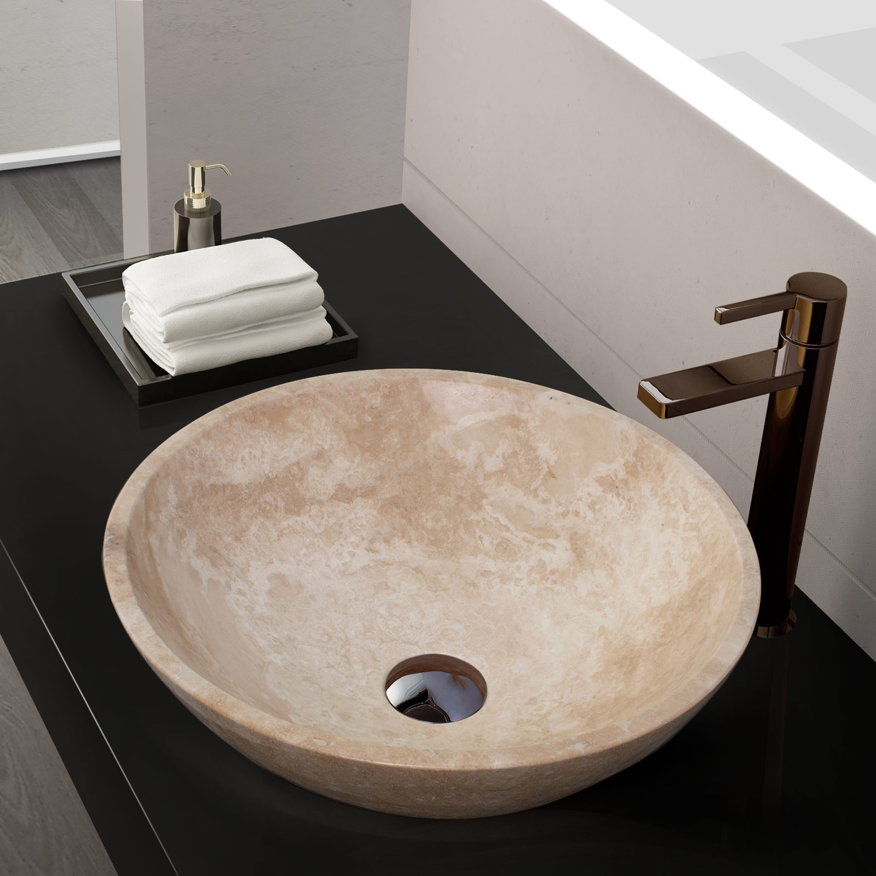 Helena Stone Vessel Sink, White Jade Travertine