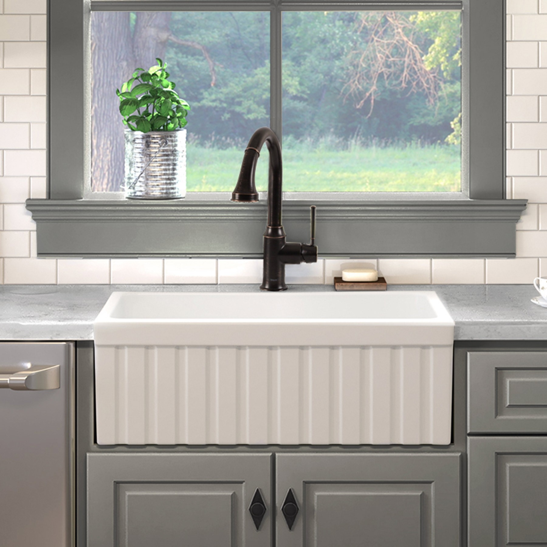 Victoria 30 Inch Fireclay Farmhouse Kitchen Sink With