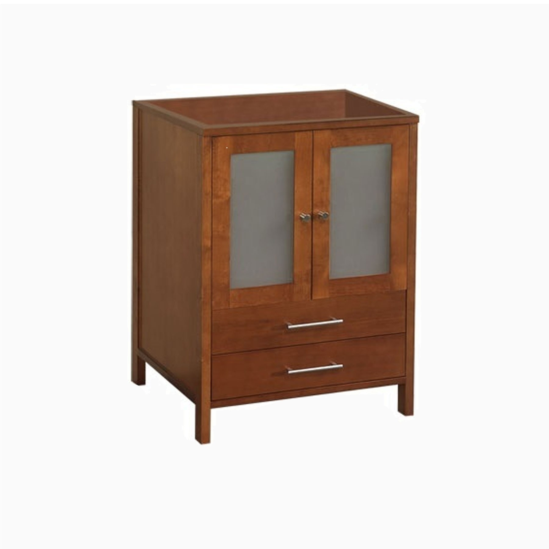 "24"" Cynthia Single Bathroom Vanity Base Cabinet Only with Frosted Glass Doors, Natural Cherry"