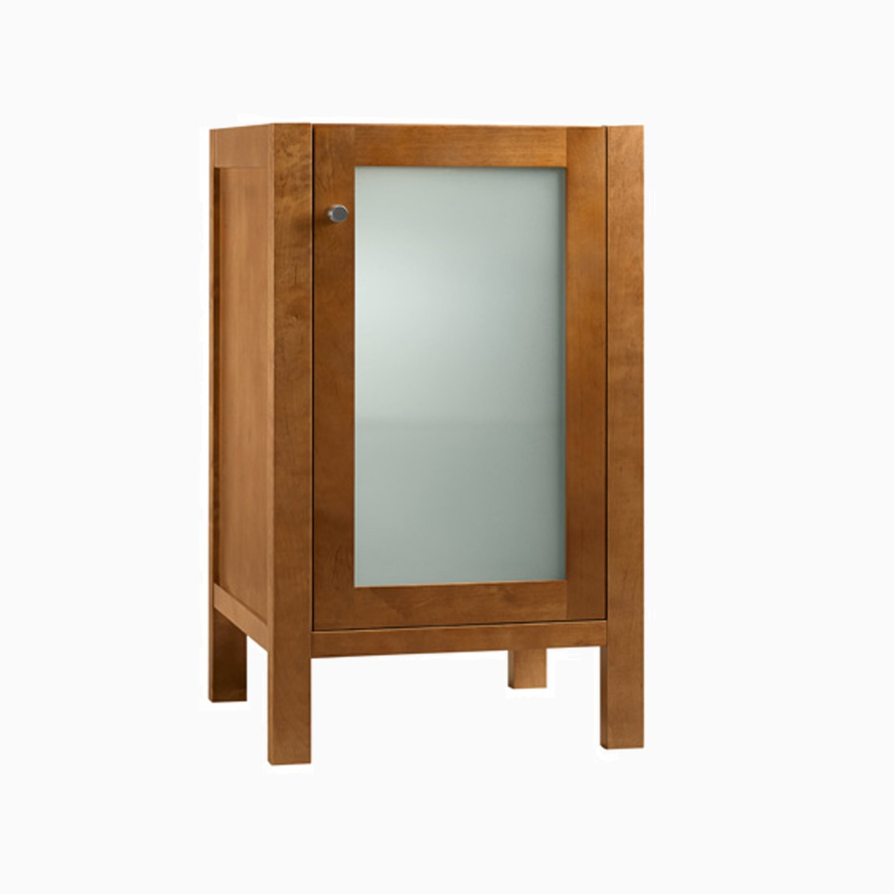 18 patricia single bathroom vanity base cabinet only with frosted glass door natural cherry for Bathroom vanity with frosted glass doors