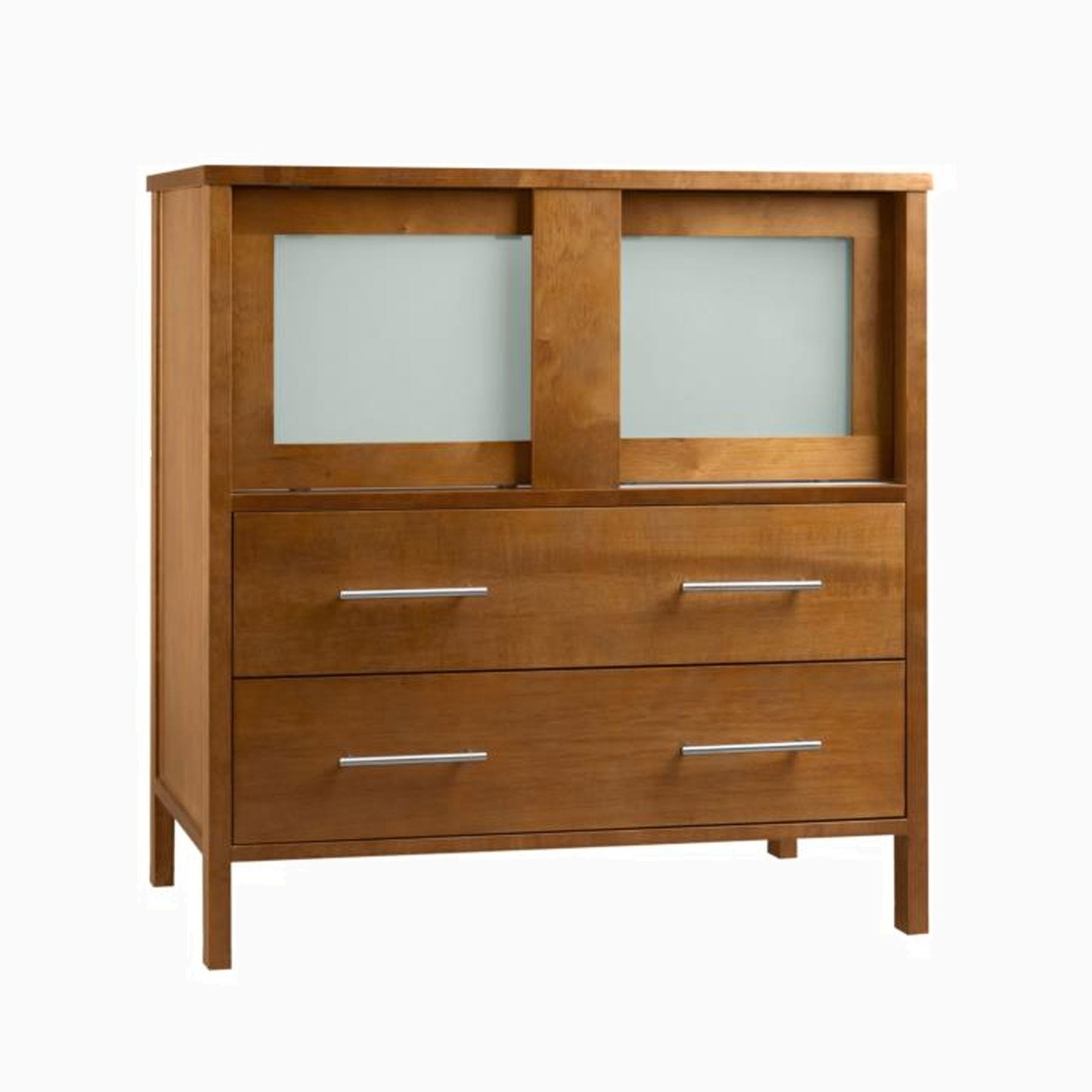 23 Paula Single Bathroom Vanity Base Cabinet Only With Frosted Gl Doors Natural Cherry
