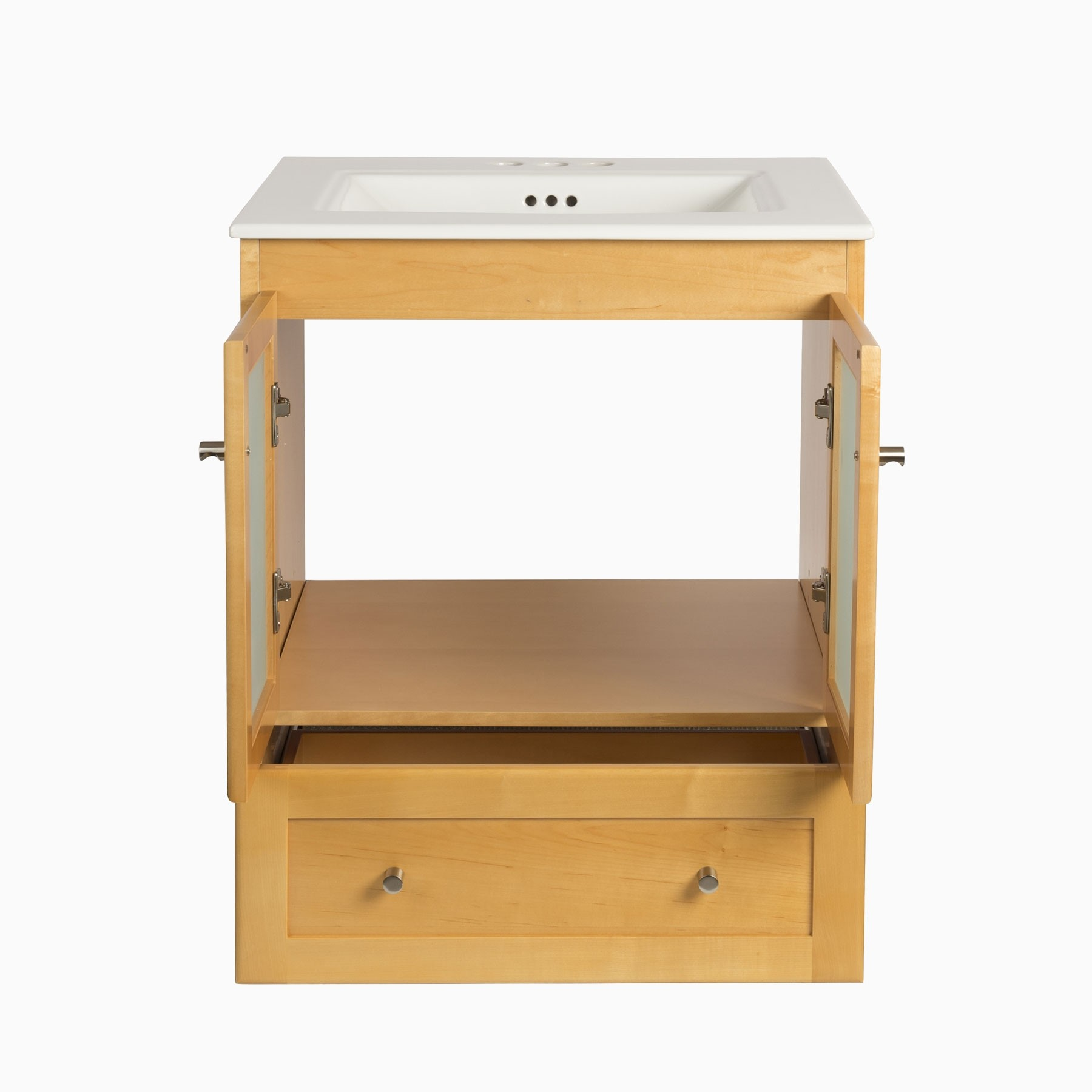 24 wardley single bathroom vanity base cabinet only with frosted glass doors honey for Bathroom vanity with frosted glass doors