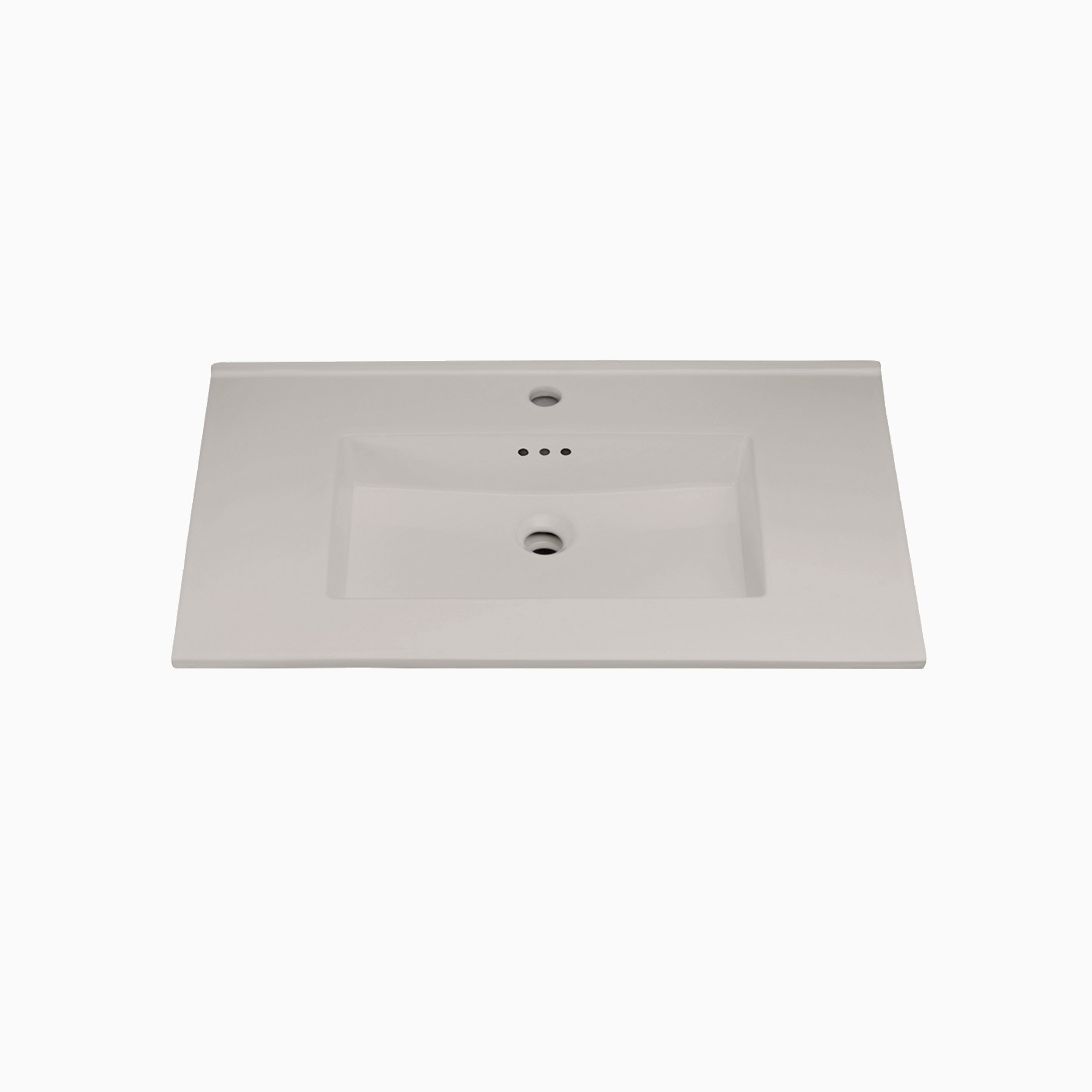 33 W X 20 D Marbella Ceramic Single Vanity Top With Integrated Sink And Faucet Hole Beach Gray