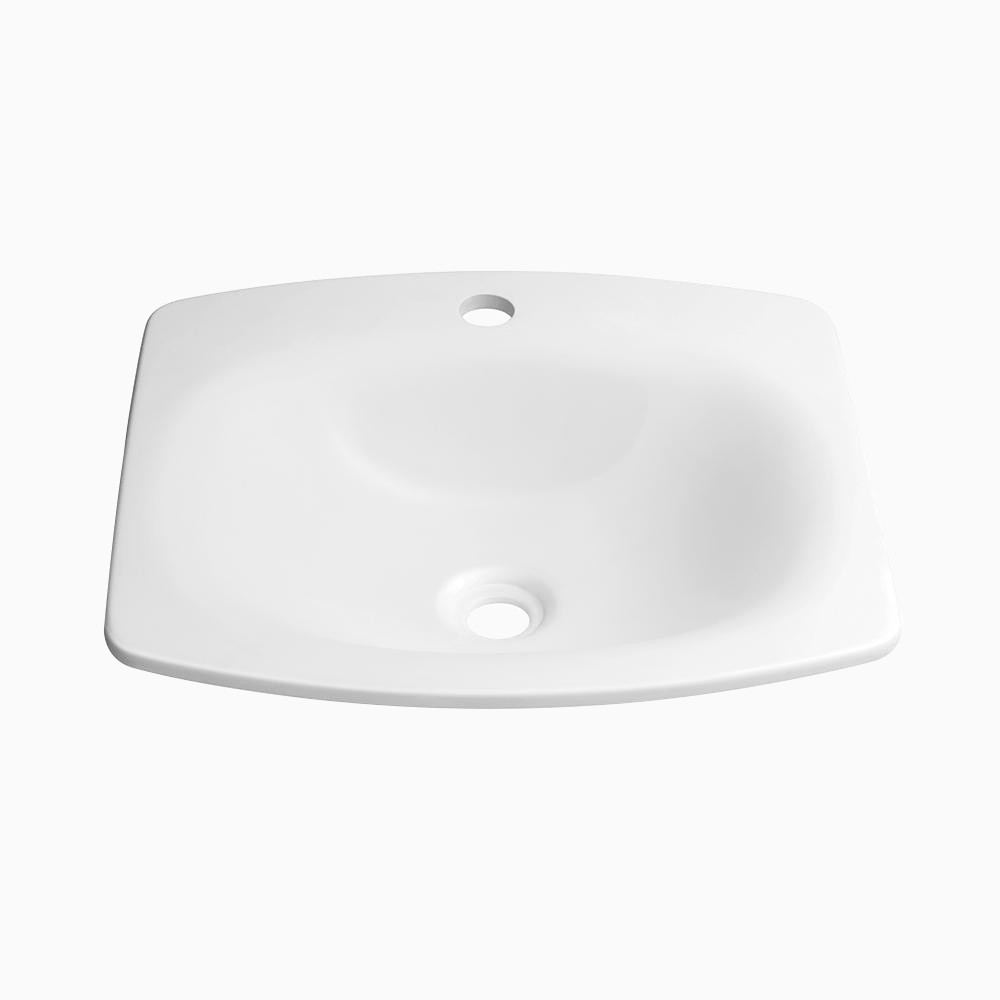19 Era Rectangular Ceramic Drop In Sink With Single Faucet Hole Without Overflow In White