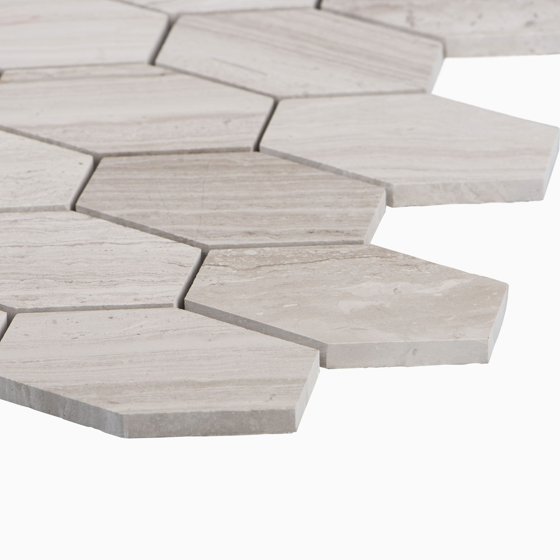 Cooper 10-Pack Long Mosaic Wall and Floor Tile, Wooden White Marble