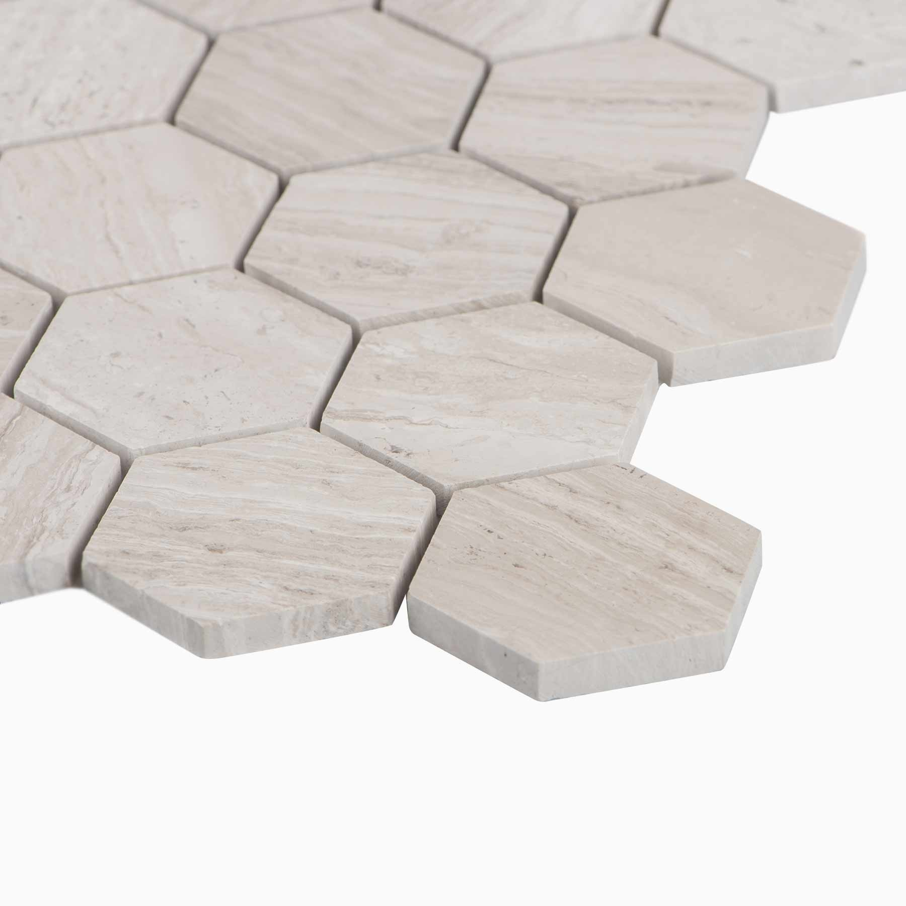 Cooper 10 Pack Hexagon Mosaic Wall And Floor Tile Wooden