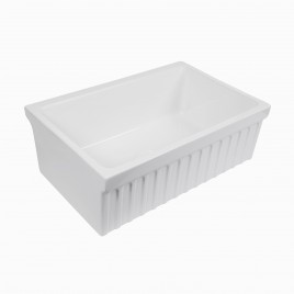 "Victoria 30"" Fireclay Farmhouse Kitchen Sink with Fluted Apron"