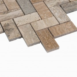 Sadie 10-Pack Chevron Mosaic Wall and Floor Tile, Natural Travertine