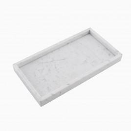 Cobi Rectangle Display Tray, Carrara White Marble