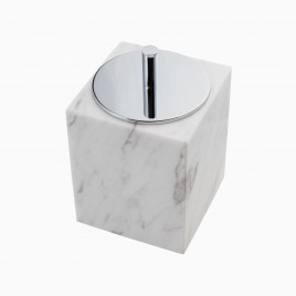 Brax Canister with Lid, White Marble