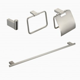 "Benidorm 4-Piece Bathroom Hardware Set with 18"" Towel Bar, Brushed Nickel"