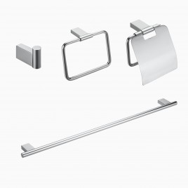 "Benidorm 4-Piece Bathroom Hardware Set with 18"" Towel Bar, Polished Chrome"