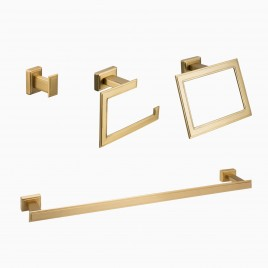 "Carraway 4-Piece Bathroom Hardware Set with 24"" Towel Bar, Brushed Brass"