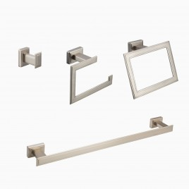 "Carraway 4-Piece Bathroom Hardware Set with 24"" Towel Bar, Brushed Nickel"