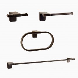 "Dash 4-Piece Bathroom Hardware Set with 24"" Towel Bar, Oil-Rubbed Bronze"