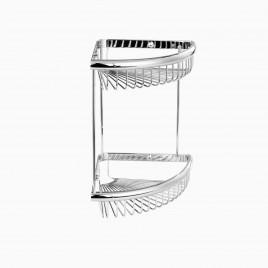 "Dawn Wall Mount Double Corner Basket, 9"", Polished Chrome"
