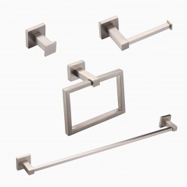 "Mitte 4-Piece Bathroom Hardware Set with 24"" Towel Bar, Brushed Nickel"