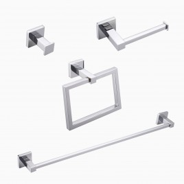 "Mitte 4-Piece Bathroom Hardware Set with 24"" Towel Bar, Polished Chrome"