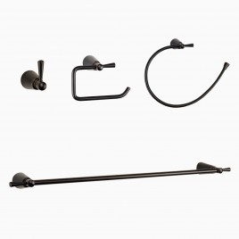 "Soma 4-Piece Bathroom Hardware Set with 24"" Towel Bar, Oil-Rubbed Bronze"
