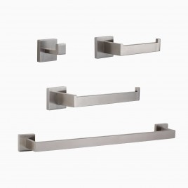 "TriBeCa 4-Piece Bathroom Hardware Set with 24"" Towel Bar, Brushed Nickel"