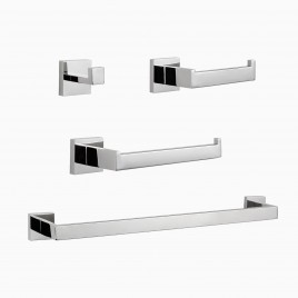 "TriBeCa 4-Piece Bathroom Hardware Set with 24"" Towel Bar, Polished Chrome"