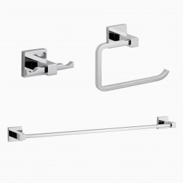 "Zane 3-Piece Bathroom Hardware Set with 25"" Towel Bar, Polished Chrome"