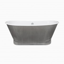 "67"" Gloria Cast Iron Freestanding Tub, Stainless Steel"