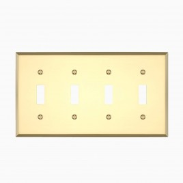 Graham Quad Light Switch Cover, Polished Brass