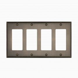 Graham Solid Brass Quad Rocker Switch Cover