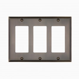 Graham Solid Brass Triple Rocker Switch Cover