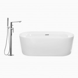"59"" Dewey Freestanding Tub with Adalbert Freestanding Single Lever Bathtub Faucet, Polished Chrome"