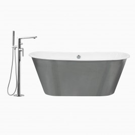 "67"" Woodward Deep Soaking Cast Iron Tub with Adalbert Freestanding Single Lever Bathtub Faucet, Polished Chrome"
