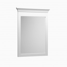 "Joan 24"" W x 34"" H Wood Framed Rectangle Wall Mirror, Cream"
