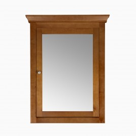 """Maria 27"""" W x 35"""" H Wood Framed Medicine Cabinet with Mirror and Shelf, Natural Cherry"""