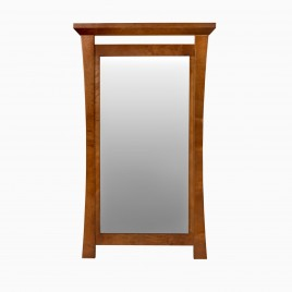 """Sachi 21"""" W x 36"""" H Wood Framed Rectangle Wall Mirror, Natural Cherry"""